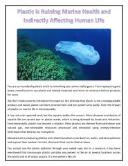 Plastic is Ruining Marine Health and Indirectly Affecting Human Life.pdf