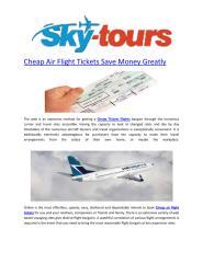 Cheap Air Flight Tickets Save Money Greatly.pdf