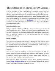 Three Reasons To Enroll For QA Classes.pdf