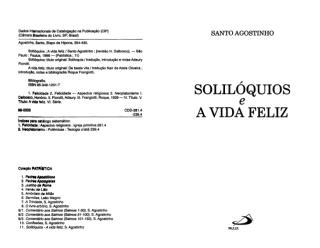 Solilóquios e a Vida Feliz - Santo Agostinho.pdf